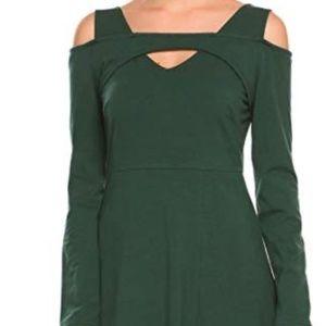 Dresses & Skirts - LS Cold Shoulder High Waist Fit & Flare Dress L